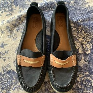 Sebago Docksides Penny Boat Shoe in Navy and Tan